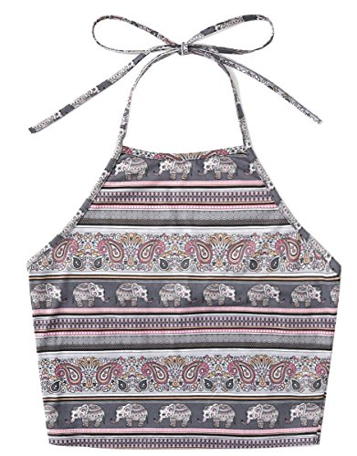 d969b46870cbd Romwe Women s Bohemian Print Sleeveless Vest Halter Cami Tank Top Crop Tee