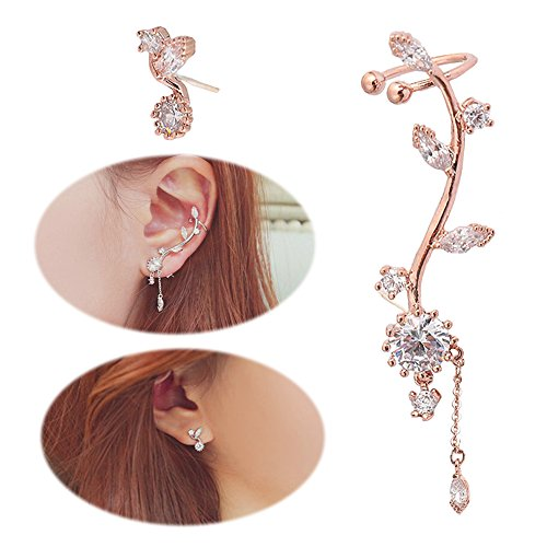 251c704bd2432a Ear Crawler Earrings Leaves Climber Ear Cuff Chandelier Rhinestone Wrap Pin  Asymmetric Flower Tassel Stud Golden Plated