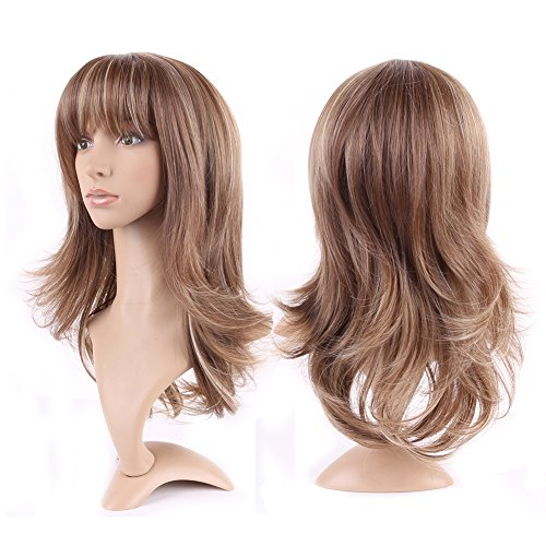 "Curly Synthetic Wig with Bangs 15 Styles Heat Resistant Full Wig Long Hair Full Head 15"" / 15 inch+Stretchable Elastic Wig Net for Women Girls Lady,Light brown blonde mix"