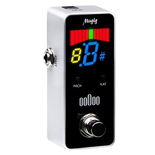 Tuner Pedal for Guitar and Bass – Chromatic – with Pitch Calibration and Flat Tuning by Mugig – Mini