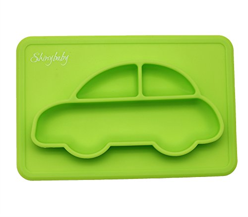 Silicone Placemat for Babies, Toddlers and Kids, Dinner Dish, 100% Food Grade Silicon, BPA Free, Dishwasher Safe, Non-Slip, One-Piece Baby Feeding Mat with 3 Compartments, Green by Shinybaby