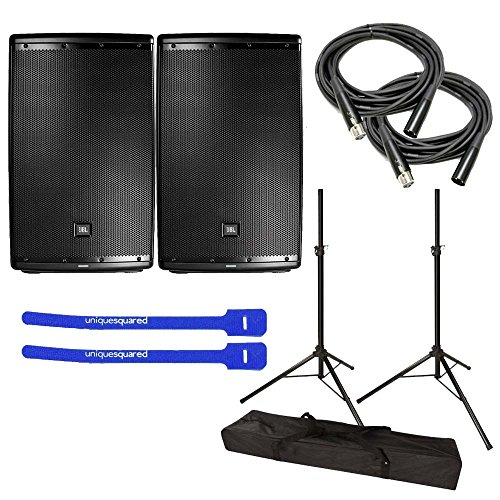 JBL EON615 Powered 15″ 2-Way Speaker System Pair w/ Tripod Speaker Stand Pair and Bag, XLR Cables & Cable Ties