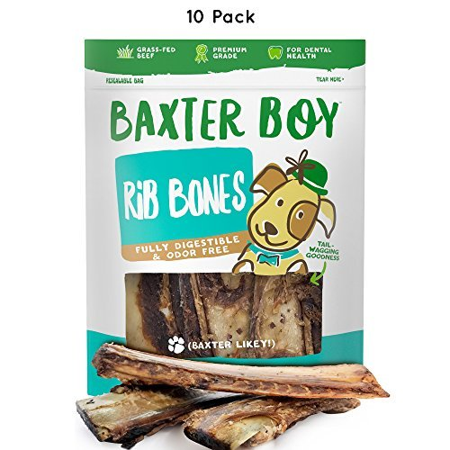 "Baxter Boy Premium Roasted Beef Ribs Dog Bone Treats Chews 10 Pack – 7"" Long All Natural Gourmet Dog Treat Chews – Delicious Smoked Beef Flavor"