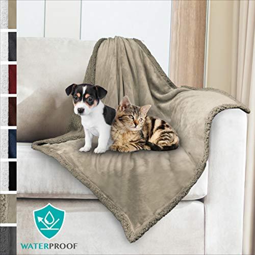 PetAmi Premium Waterproof Soft Sherpa Pet Blanket by Cozy, Comfortable, Plush, Lightweight Microfiber, 100% WATERPROOF 30″ x 40″, Taupe/Taupe Sherpa