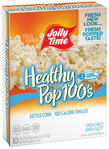 Jolly Time Healthy Pop Kettle Corn Microwave Popcorn Mini Bags | 100 Calorie Single Serving for Portion Control, 10-Count Boxes Pack of 3