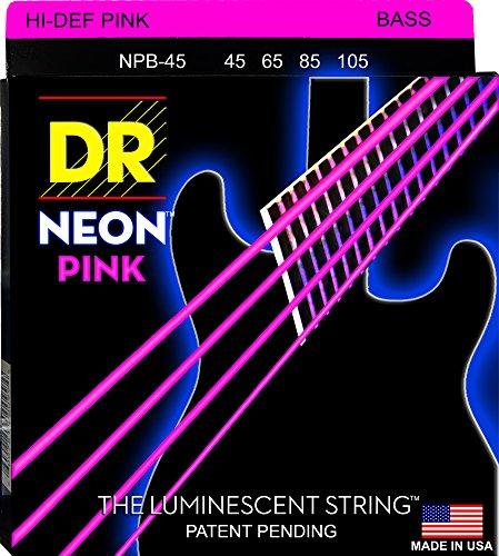 DR Strings NPB-45 Coated Nickel Hi-Def Pink Bass Guitar Strings, Medium