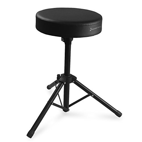 Black Steel w/ Thick Cushioned Seat, Anti-Slip Feet for Adults & Kids – 20 Inch – Encore Basics Drum Throne