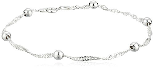 Sterling Silver 2.3mm Singapore-Chain Anklet, 9″