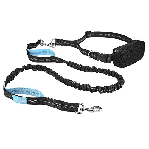 "for Jogging, Running, Hiking Black + Blue – Pecute Hands Free Dog Leash Double Handle Leash with Zipper Pouch -Extendable Bungee with Reflective Stitching – Detachable Waist Belt up to 48"" Waist"