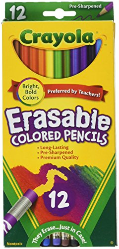 Crayola Erasable Colored Pencils, 12 Non-Toxic, Pre-Sharpened, Fully Erasable Pencils Colored Pencil Set for Adult Coloring Books or Kids 4 & Up, Great for Shading, Gradation, Line Art & More