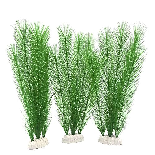 BEGONDIS Aquarium Decorations 3Pcs Fish Tank Artificial Green Water Plants Made of Silk Fabrics Plastic, Non-Toxic & Safe for All Fish & Pets