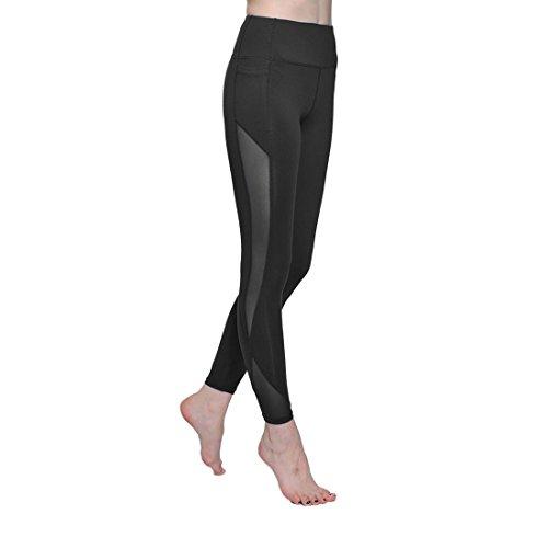 ONGASOFT Yoga Pants for Women Mesh Workout Leggings Winter Yoga CaprisBlack,M