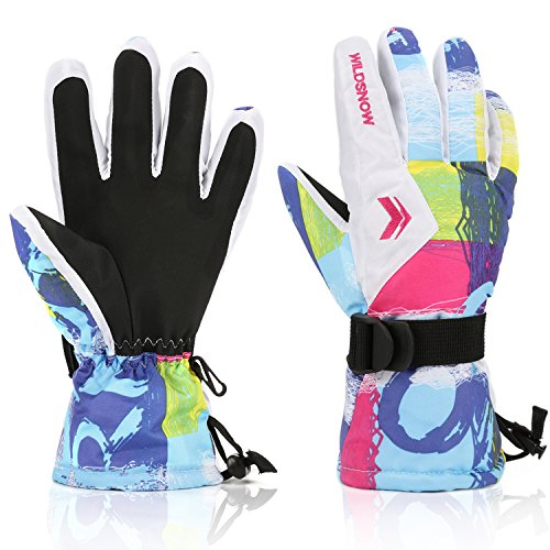 Ski Gloves,RunRRIn Winter Warmest Waterproof and Breathable Snow Gloves for Mens,Womens,ladies and Kids Skiing,SnowboardingWhite-L