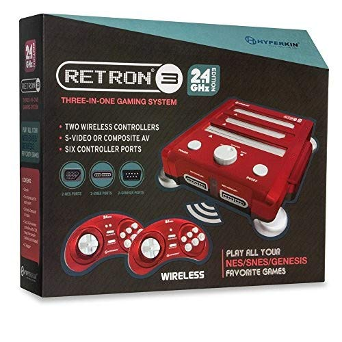 Hyperkin RetroN 3 Gaming Console 2.4 GHz Edition for SNES/ Genesis/ NES Laser Red