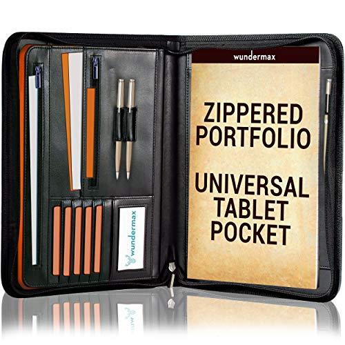 Wundermax Zippered Padfolio Portfolio Bonus Writing Pad, Professional Interview PU Leather Folder, Resume Holder, Legal Document Organizer, Business Portfolio with Interior 10.1 Inch Tablet Sleeve
