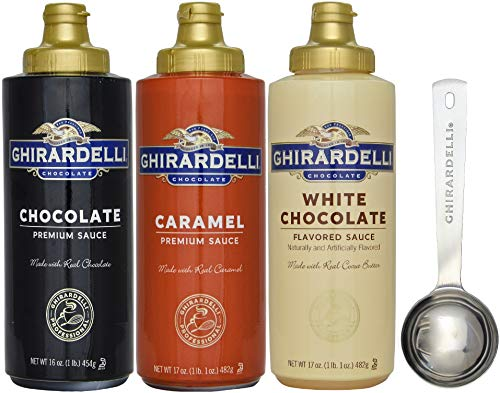 16 oz Chocolate, 17 oz White Chocolate Flavored, 17 oz Caramel Sauce Squeeze Bottle – Set of 3 – with Limited Edition Measuring Spoon – Ghirardelli