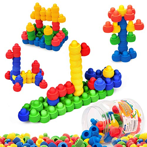 60 pieces with Storage Tub – MECY STEM Toys Kids Educational Toys Building Blocks Building Column Sets Interlocking Soft Plastic for Preschool Kids Boys and Girls, Safe Material for Kids
