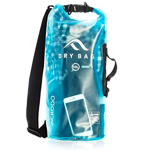 Keeps Clothing & Electronics Protected – Acrodo New Waterproof Dry Bag Transparent Arctic Blue 10 Liter Floating for Boating, Camping, and Kayaking with Shoulder Strap