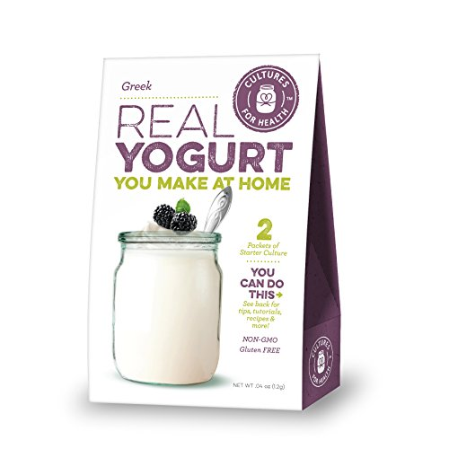 Cultures For Health Greek Yogurt Starter | Re-use Heirloom Yogurt Culture Many Times Without Any Loss In Nutrients | Non GMO, Gluten Free | Makes Tart, Creamy Greek Yogurt | 2 Sachets In A Box