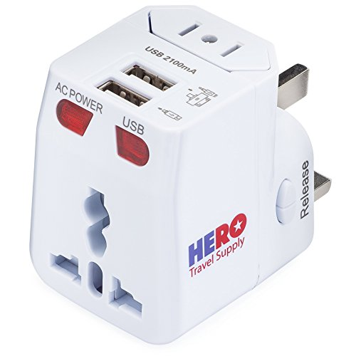 Individually Tested in The USA by Hero Travel Supply – White – Power Plug for US Europe France UK Ireland Thailand China NZ Australia 100+ Countries – Universal Travel Adapter 2 USB Ports