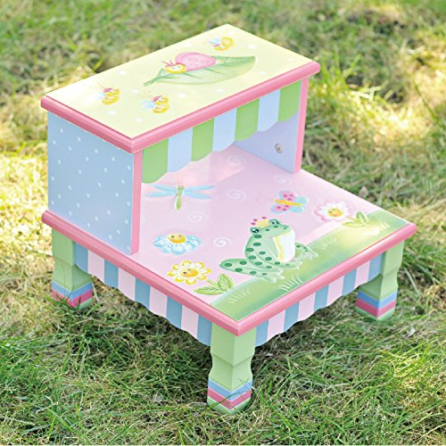 Teamson Design Corp Fantasy Fields – Magic Garden Thematic Kids Wooden Step Stool | Imagination Inspiring Hand Crafted & Hand Painted Details Non-Toxic, Lead Free Water-based Paint