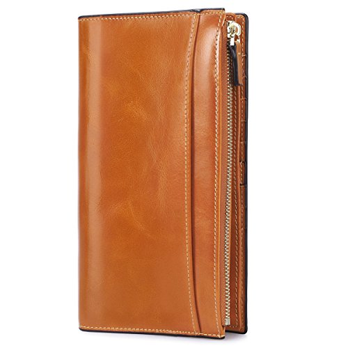 S-ZONE Women's Genuine Leather Trifold Wallet Card Organizer Ladies Clutch Travel Purse Brown