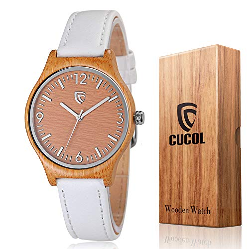 CUCOL Women Bamboo Watch with Leather Strap Minimalism Wooden