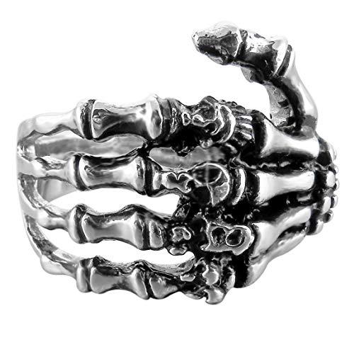 INBLUE Men's Stainless Steel Ring Band Silver Tone Black Skull Hand Bone Size11