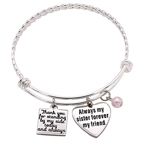 Melix Home Thank You for Standing by My Side, Always My Sister Forever My Friend Bracelet White