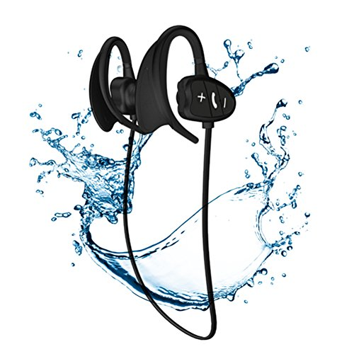 Wireless Bluetooth Headphones, IPX8 Waterproof Noise Cancelling Silicone Headsets – Rechargeable Sport Hands-free Earbuds with Volume Control & Mic Black