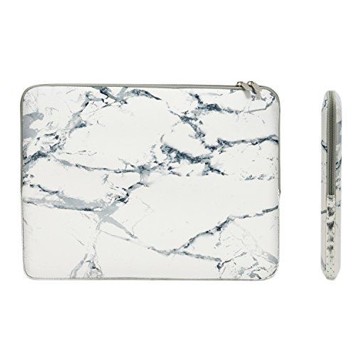 TOP CASE – White – Marble Pattern Zipper Sleeve Bag Compatible with All Laptop 13″ 13-inch MacBook Pro with or Without Retina Display/MacBook Air/MacBook Unibody/Ultrabook/Chromebook