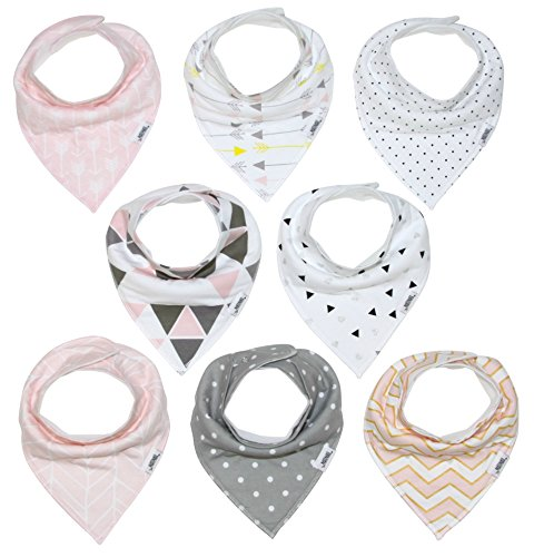 Baby Bandana Drool Bib Set of 8 for Girls, Organic Super Absorbent, Soft, Chic Drooling and Teething Bibs Blush Pink by Matimati