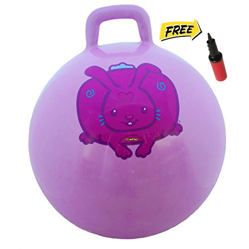 WALIKI TOYS Hopper Ball For Kids Ages 3-6 Hippity Hop Ball, Hopping Ball, Bouncy Ball With Handles, Sit & Bounce, Kangaroo Bouncer, Jumping Ball, 18 Inches, Purple, Pump Included