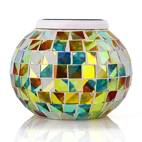 Senbowe™ Solar Powered Mosaic Glass Ball LED Garden Lights,Color Changing Solar Table Lamps,Waterproof Solar Outdoor Lights for Christmas,Home,Yard, Patio,Ideal Gifts – 5.12 4.13 In