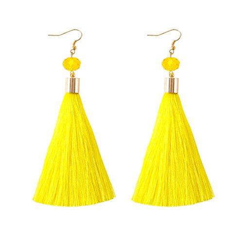 NLCAC Tassel Dangle Earrings Silk Thread Drop Earrings Yellow Dangle Ear Hook