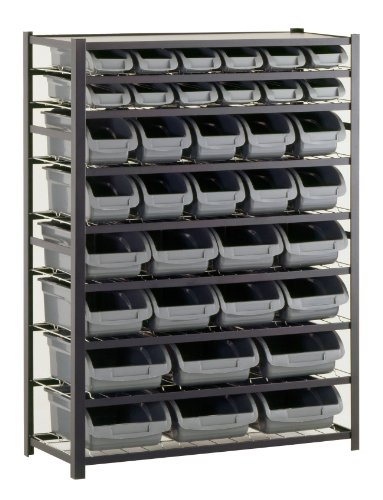 Sandusky Lee UR4416BIN36 Black Zinc Steel Bin Shelving Unit with 36 Storage Bin, 57″ Height x 44″ Width x 16″ Depth