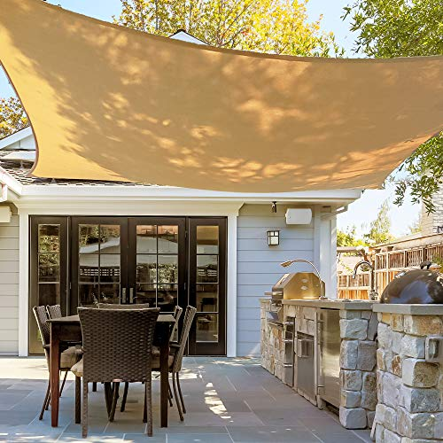 Asani Rectangle Sun Shade Sail | UV Blocking Patio Cover, Outdoor Sunshade Canopy | Weather-Resistant Fabric with Metal Hardware | Covering for Deck, Pool, Garden, Porch, Backyard 12′ x 16′