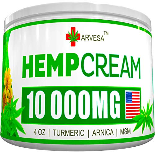 Lower Back, Neck, Joint, Knee, Muscle Inflammation – Made in USA – with Emu Oil, Arnica, MSM, Turmeric – Hemp Pain Relief Cream – All-Natural Hemp Extract – 10 000MG – 4 OZ