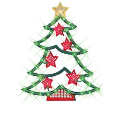 IMPACT 18″ Lighted Christmas Tree with Stars Window Silhouette Decoration