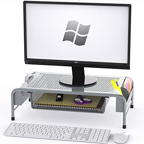 Top 10 SimpleHouseware Metal Desk Monitor Stand Riser with Organizer Drawer – Monitor Arms & Monitor Stands