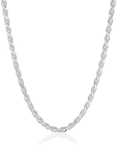 Sterling Silver 040-Gauge Diamond-Cut Rope Chain Necklace, 20″