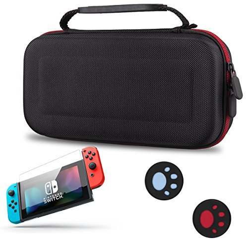 Nintendo Switch Case Nintendo Switch Screen Protector Hard Carry Case Pouch for Nintendo Switch Console Accessories Set Include Case , Screen Protector and Handle Buttons Protector