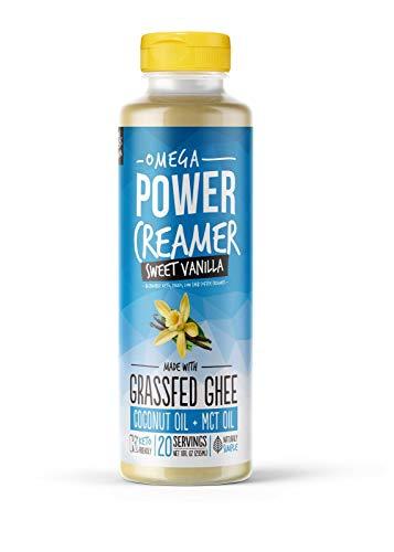 Omega PowerCreamer – VANILLA Keto Coffee Creamer – Grass fed Ghee, Organic Coconut Oil, MCT Oil, Stevia | High Fat Butter Blend | Paleo, Ketogenic, Zero Carb, Sugar Free 10 fl oz 20 servings