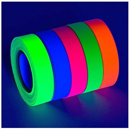 .5 in x 60 ft 5-Pack UV Blacklight Reactive Fluorescent/Neon Gaffer Tape Matte Finish Best Deal!