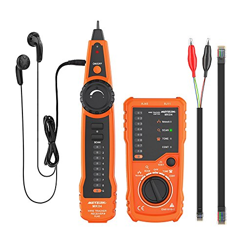 Meterk Wire Tracker RJ11 RJ45 Line Finder Handheld Cable Tester Multifunction Cable Check Wire Measuring Instrument for Network Maintenance Collation, Telephone Line Test, Continuity Checking