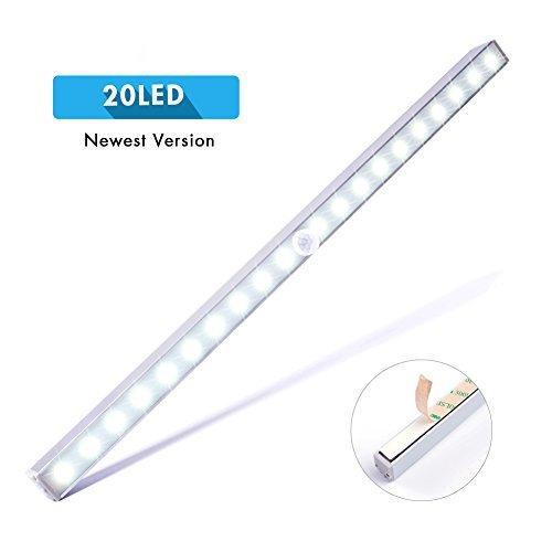 LED Closet Light, Cshidworld Wireless Stick Anywhere Motion Sensor 20-LED Under Cabinet Lights Night Lighting Bar Battery Operated