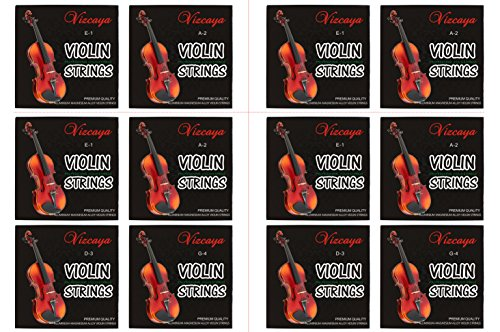 3/4 Size Beginner,Student Violin Replacement ,Extra 4 string(E1,A2,E1,A2 – Vizcaya 2 Full Sets Violin String G-D-A-E , G-D-A-E for 4/4