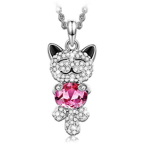 J.NINA Cat Necklace for Mothers Day for Animal Lover Pendant with Rose Swarovski Crystal Women Pendant Anniversary Valentines Day Birthday Gift for Wife Kids Niece Girlfriend Teacher Sister