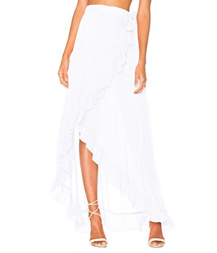Bestyou Women's Printed Side Slit Sheer Chiffon Maxi Skirt Beach Cover Ups White
