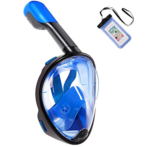 Pankoo Full Face Snorkel Mask, 180º Panoramic View Diving Scuba Mask with Anti-Fog and Anti-Leak with Adjustable Head Straps Design for Adults,Youth,Kids